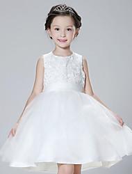 A-line Short/Mini Flower Girl Dress - Organza / Satin Sleeveless