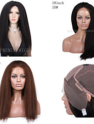 Premierwigs New 8A 8''-26'' Kinky Straight Brazilian Virgin Glueless Full Lace Human Hair Wigs Glueless Lace Front Wigs