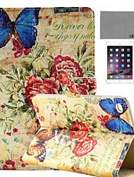 lexy® rétro motif papillon de timbre cas de stand PU cuir flip avec protecteur d'écran et un stylet pour iPad mini-4