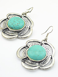 Vintage Look Antique Silver Plated Round Flower Turquoise Stone Drop Dangle Earring(1Pair)