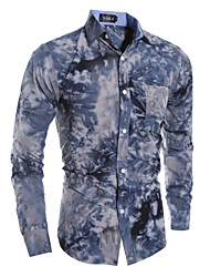 Men's Fashion British Style 3D Snowflake Print Slim Fit Long-Sleeve Shirt