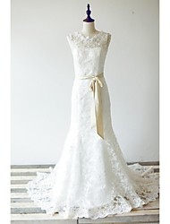 Trumpet/Mermaid Wedding Dress - Ivory Sweep/Brush Train Jewel Lace / Satin