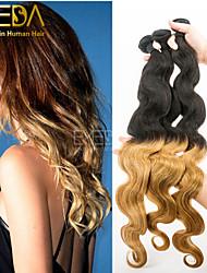 3pcs / lot remy indien vague de corps cheveux ombre tissage 2 tons ombre humaine extensions de cheveux 1b / 27 cheveu humain tisse 8 '' -