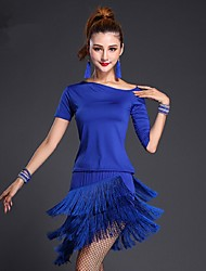 Latin Dance Outfits Women's Performance Milk Fiber Tassel(s) 2 Pieces Black / Blue / Fuchsia