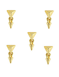 10pcs Stylish Gold Pyramid Stud with Spike Dangle 3D Nail Art Decoration 6mm x14mm