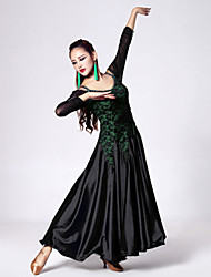 Imported Nylon Viscose and lace with Rhinestones Ballroom Dance Dresses for Women's Performance(More Colors)