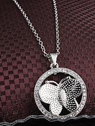Xinjiu korea Hot Exquisite Diamond Butterfly Pendant 18K Gold Plated Necklace