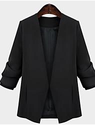 Women's Solid Black Blazer , Sexy / Plus Sizes Asymmetrical Long Sleeve