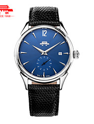 Men's Manual Mechanical Watch Waterproof Business Watch Blue Dial