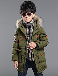 Boy's Embroidery Long Hoodie Down Jacket