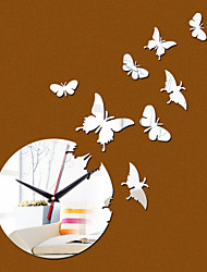 Acrylic DIY 3D Mirror Home Decor Butterfly Wall Clock Mirror Surface Sticker