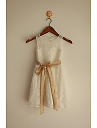A-line Tea-length Flower Girl Dress Bateau with