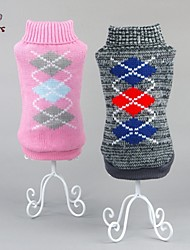Cat / Dog Sweater Pink / Gray Dog Clothes Winter Plaid/Check Keep Warm