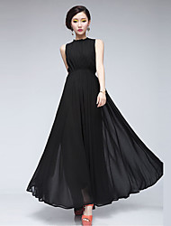 Women's Solid Color Black Dresses , Sexy / Party Round Sleeveless