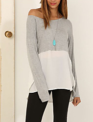 Women's Patchwork White T-shirt , One Shoulder Long Sleeve