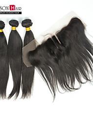 """4 pièces / Lot 12 """"-28"""" naturelles droites noires brésiliennes vierge de cheveux 3 faisceaux avec 1 pièce 13 """"x4"""" dentelle frontale fermeture"""
