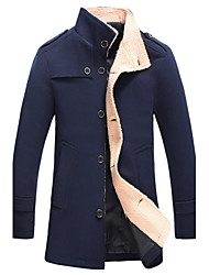 Men's Fashion Single-Breasted Solid Mid-Long Warm Woolen Coat