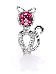 925 Sterling Silver CZ Stone Fashion Cat Stud Earring