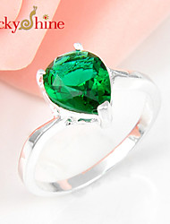 Luckyshine Amazing 925 Silver Classic Drop Pink Topaz Green Red Quartz Crystal Gemstone Rings For Xmas Holiday Gifts