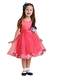 Girl Peachy Satin Belt With Flower Attire Dresses