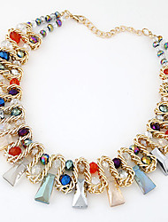 European Style Fashion Trend Wild Pearl Metal Braided Geometric Short Necklace