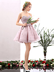 A-line sweetheart curto / mini vestido de festa de cocktail de tul com flor (es) detalhe de pérolas