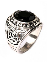 Punk Carved Gemstone Silver Black Rings  Retro