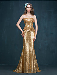 Formal Evening Dress Trumpet / Mermaid Jewel Sweep / Brush Train Sequined with Crystal Detailing / Pearl Detailing