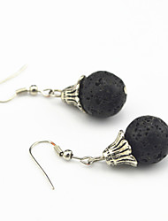 Vintage Look Antique Silver Plated Round Black Lava Volcano Beads Drop Dangle Earring(1Pair)