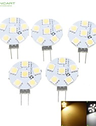 5 x G4 / MR11/ GU4 / GZ4  1.5W 6x5050SMD  Warm White/ White 120LM Led Light Bulbs (12V AC/DC)