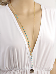 Women's Simple Fashion Handmade Turquoise Beaded Weater Chain Long Pendant Necklace