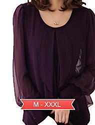 delle donne plus size solido nero / t-shirt viola, collo rotondo casuale manica lunga lanterna