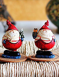Resin Chubby Santa Claus Ornament for Christmas Two pcs/set.
