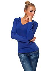 T-Shirt Da donna Pizzo A V Manica lunga Cotone