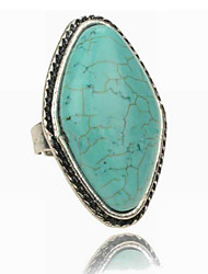 Vintage Look Antique Silver Big Turquoise Stone Adjustable Free Size Ring(1PC)