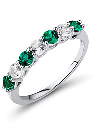 Women's Classic Sterling Silver set with Created White Sapphire and Created Emerald Band Ring