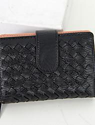 Women PU Bi-fold Clutch / Wallet - Pink / Blue / Gray / Black