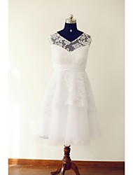 A-line Wedding Dress Tea-length V-neck Lace / Tulle with Lace / Ruche / Sash / Ribbon