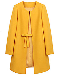 PLIO   Women's Solid Color Yellow Coats & Jackets , Casual / Party / Work Round Long Sleeve