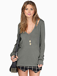 T-Shirt Da donna Increspato A V scollato Manica lunga Cotone