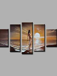 Ready to Hang Stretched  Framed Hand-Painted Oil Painting Canvas Wall Art Sunrise Nude Girls Beach Five Panels