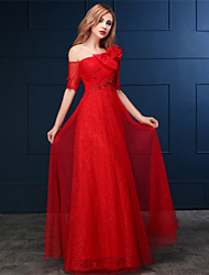 Formal Evening Dress A-line One Shoulder Floor-length Lace / Tulle with Appliques / Bow(s) / Sequins