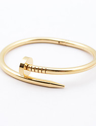 Feminino Bracelete Aço Inoxidável Chapeado Dourado Moda Clássico Jóias Preto Prata Rosa Dourado Jóias 1peça