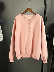 Women's Solid Hoodies , Casual Plus Sizes Round Neck Long Sleeve