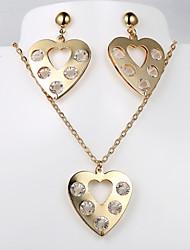 moda nuevo corazón collar conjuntos pendiente 5 de diamante europeas y americanas