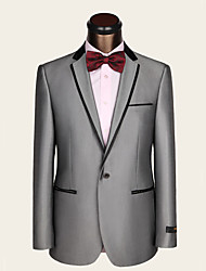 Suits Slim Fit Notch Single Breasted One-button Wool Viscose Stripes 2 Pieces Straight Piped None (Flat Front) Gray None (Flat Front)