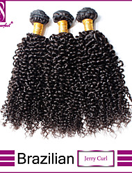 "3pcs/lot 12""-30""  Brazilian Virgin Hair Natural Black Jerry Curl Human Hair Extensions Hair Weaves"