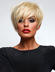 Super Short Straight Human Virgin Remy Hair Hand Tied Top Female Capless Wig