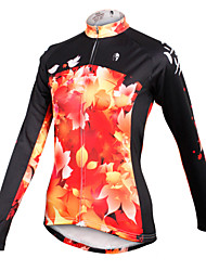ilpaladinoSport Women Long sleeve Cycling Jersey New Style  Style Autumn leaves  CX603   100% Polyester