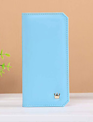 Fashion simple style long vertical Small crown metal buckle thin multi-card bit card package lady wallet
